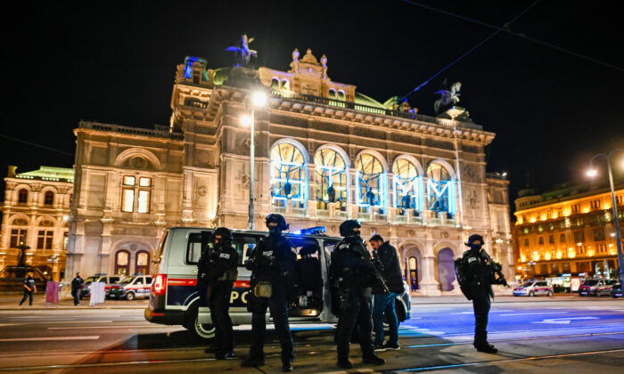 Heavily armed police stand outside the Vienna State Opera following shots fired in the city center in Vienna, on Nov. 2, 2020. (Michael Gruber/Getty Images)