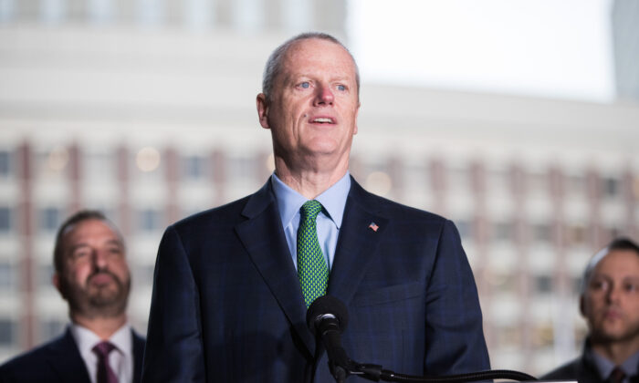 Massachusetts Gov. Charlie Baker speaks at a press conference in Boston, Mass., on March 13, 2020. (Scott Eisen/Getty Images)