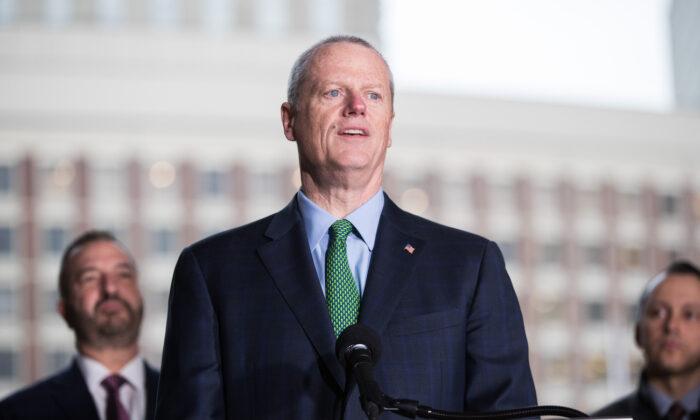 Massachusetts Governor Charlie Baker speaks at a press conference in Boston, Massachusetts, on March 13, 2020. (Scott Eisen/Getty Images)