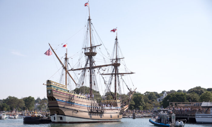 The replica ship Mayflower II approaches its dock in Plymouth Harbor after being rehabbed in Connecticut for the past three years on Aug. 10, 2020, in Plymouth, Mass. (Scott Eisen/Getty Images)