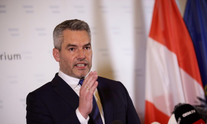Austria's Interior Minister Karl Nehammer speaks during a news conference at the Interior Ministry after exchanges of gunfire in Vienna, on Nov. 3, 2020. (Lisi Niesner/Reuters)