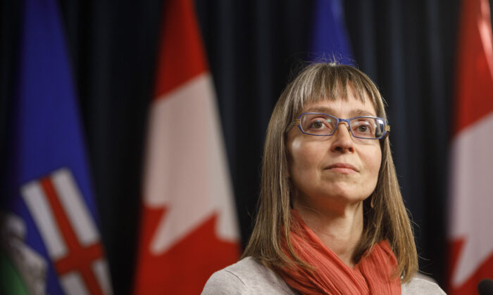 Alberta chief medical officer of health Dr. Deena Hinshaw updates media on the COVID-19 situation in Edmonton, Canada on March 20, 2020. (Jason Franson/The Canadian Press)