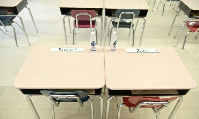 Desks in a classroom in New York City on Sept. 24, 2020. (Michael Loccisano/Getty Images)