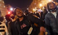 Demonstrators March on Election Night in Washington DC