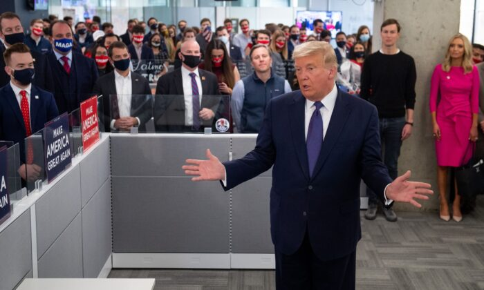 President Donald Trump speaks as he visits his campaign headquarters in Arlington, Virginia, on Nov. 3, 2020. (Saul Loeb/AFP via Getty Images)