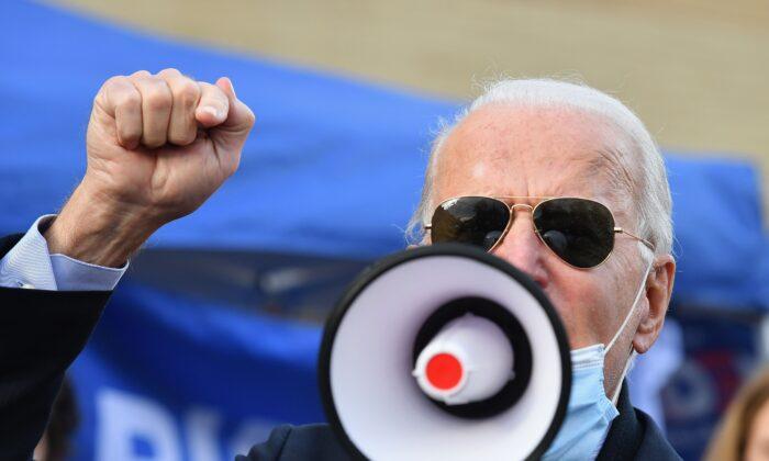 Democratic presidential nominee Joe Biden speaks to supporters in Philadelphia, Pa., on Nov. 3, 2020. (Angela Weiss/AFP via Getty Images)