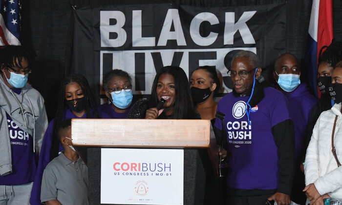 Congresswoman-elect Cori Bush speaks during her election-night watch party on Nov. 3, 2020 at campaign headquarters in St. Louis, Mo. (Michael B. Thomas/Getty Images)