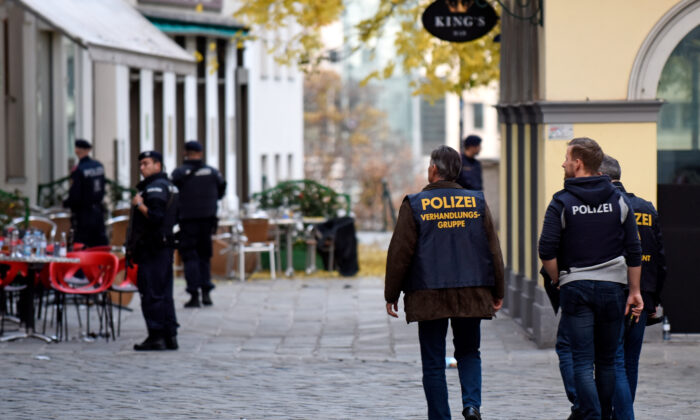 Police inspect an area the day after a deadly terrorist attack in Vienna, Austria, on Nov. 3, 2020. (Thomas Kronsteiner/Getty Images)