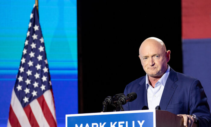 Democratic Senate candidate Mark Kelly speaks to supporters during the Election Night event in Tucson, Ariz., on Nov. 3, 2020. (Courtney Pedroza/Getty Images)