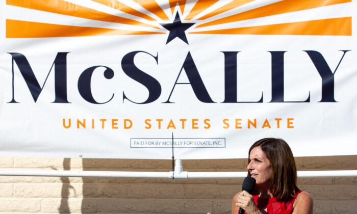 Republican U.S. Senate candidate Sen. Martha McSally (R-Ariz.) speaks to supporters in Phoenix, Ariz., on Nov. 2, 2020. (Courtney Pedroza/Getty Images)