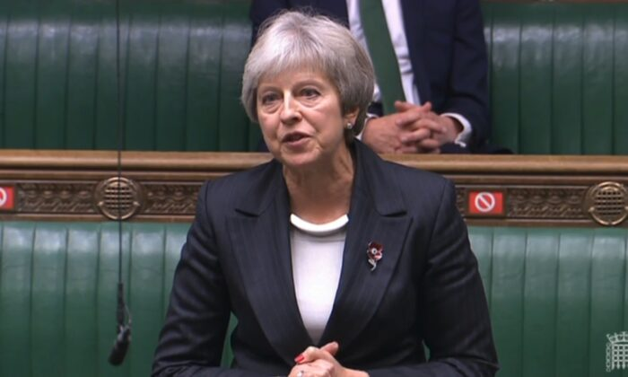Former Prime Minister Theresa May talks in the House of Commons on Nov. 4, 2020. (Parliament TV)