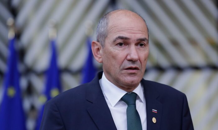 Slovenia's Prime Minister Janez Jansa speaks to the press as he arrives on the second day of an EU summit at The European Council Building in Brussels on Oct. 2, 2020. (Olivier Hoslet/Pool/AFP via Getty Images)
