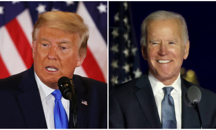 President Donald Trump (L) speaks on election night in the East Room of the White House in Washington, on Nov. 04, 2020. (Chip Somodevilla/Getty Images); Democratic presidential nominee Joe Biden (R) speaks at a drive-in election event in Wilmington, Del., on Nov. 4, 2020. (Win McNamee/Getty Images)