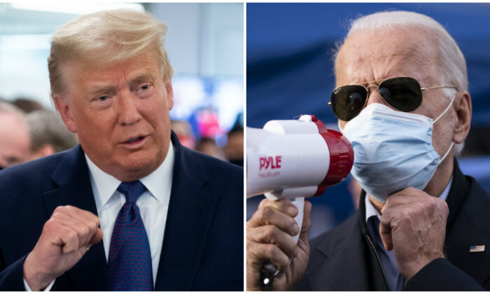 Former President Donald Trump (L) speaks as he visits his campaign headquarters in Arlington, Va., on November 3, 2020. (Saul Loeb/AFP via Getty Images); President Joe Biden (R) rallies supporters in the West Oak Lane neighborhood in Philadelphia, Pa., on Nov. 3, 2020. (Drew Angerer/Getty Images)