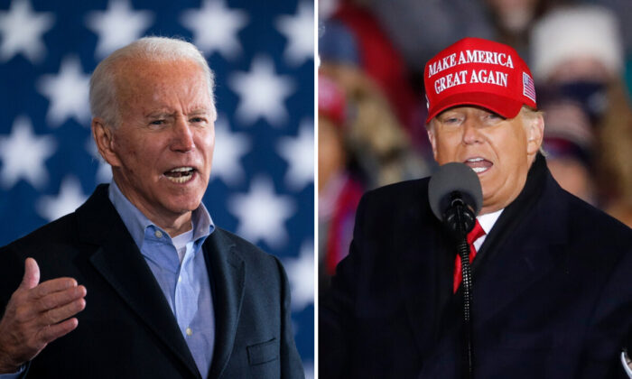 (Left) Democratic presidential nominee Joe Biden speaks at a get-out-the-vote drive-in rally at Cleveland Burke Lakefront Airport in Cleveland, Ohio, on Nov. 02, 2020. (Drew Angerer/Getty Images). (Right) President Donald Trump speaks during a rally in Grand Rapids, Mich. on Nov. 3, 2020. (Kamil Krzaczynski/Getty Images)