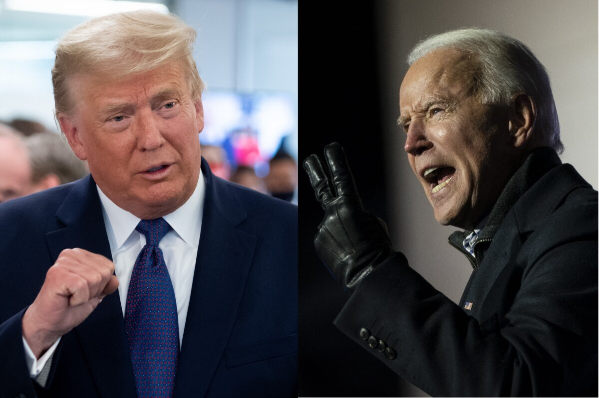 Trump and Biden collage