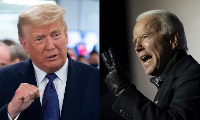 President Donald Trump (L) speaks as he visits his campaign headquarters in Arlington, Va., on Nov. 3, 2020. (Saul Loeb/AFP via Getty Images); (R) Democratic presidential nominee Joe Biden speaks during a drive-in campaign rally at Heinz Field in Pittsburgh, Pa., on Nov. 2, 2020. (Drew Angerer/Getty Images)