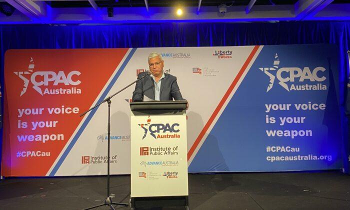 Warren Mundine AO speaking at CPAC in Sydney, Australia on Oct. 4, 2020. (The Epoch Times)