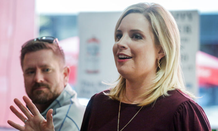 Republican candidate for Iowa's First Congressional District Ashley Hinson speaks to supporters at Jimmy Z's in Cedar Rapids, Iowa, on Nov. 3, 2020. (Jim Slosiarek/The Gazette via AP)