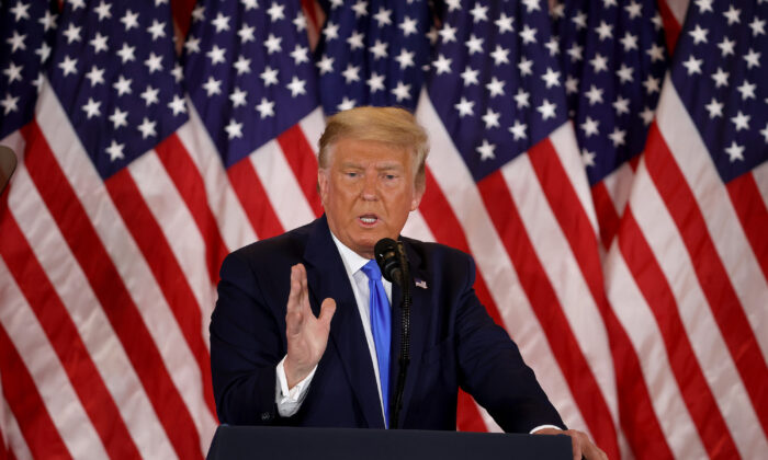 President Donald Trump speaks on election night in the East Room of the White House in the early morning hours of Nov. 4, 2020, in Washington. (Chip Somodevilla/Getty Images)