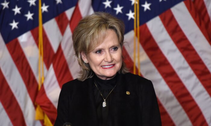 Sen. Cindy Hyde-Smith (R-Miss.) speaks on Capitol Hill in Washington on Oct. 26, 2020. (Olivier Douliery/Pool/AFP via Getty Images)