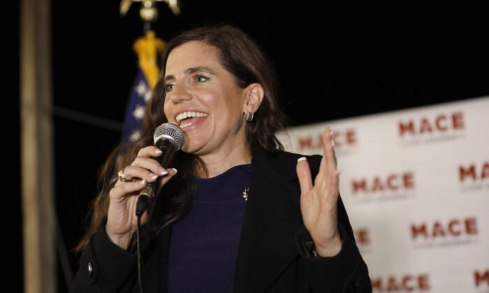 Rep. Nancy Mace (R-S.C.) talks to supporters during her election night party in Mount Pleasant, S.C., on Nov. 3, 2020. (Mic Smith/AP PhotoR