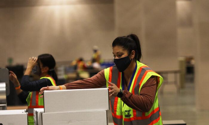Election workers count ballots in Philadelphia, Penn., Nov. 3, 2020. (Spencer Platt/Getty Images)