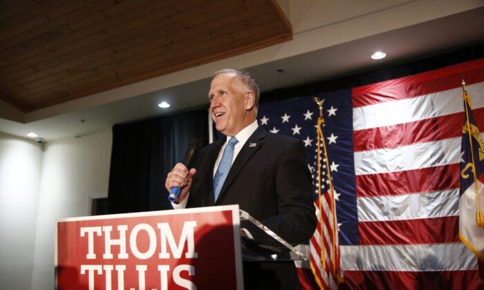 Sen. Thom Tillis (R-N.C.) speaks to supporters in Mooresville, N.C., on Nov. 3, 2020. (Brian Blanco/Getty Images)