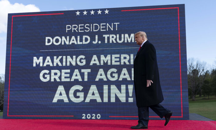 President Donald Trump walks to the podium to speak at a campaign rally at Keith House, Washington's Headquarters, in Newtown, Pa., on Oct. 31, 2020. (Alex Brandon/AP Photo)