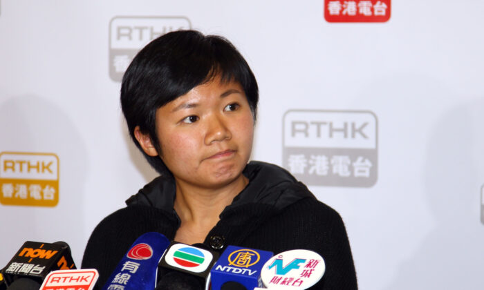 Choy Yuk-ling speaks to local media in Hong Kong on Feb. 14, 2014. (Hong Kong branch of The Epoch Times)