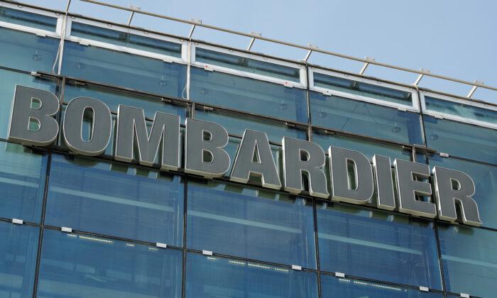 Logo of Bombardier is seen at an office building in Zurich, Switzerland, on Feb. 28, 2019. (REUTERS/Arnd Wiegmann)