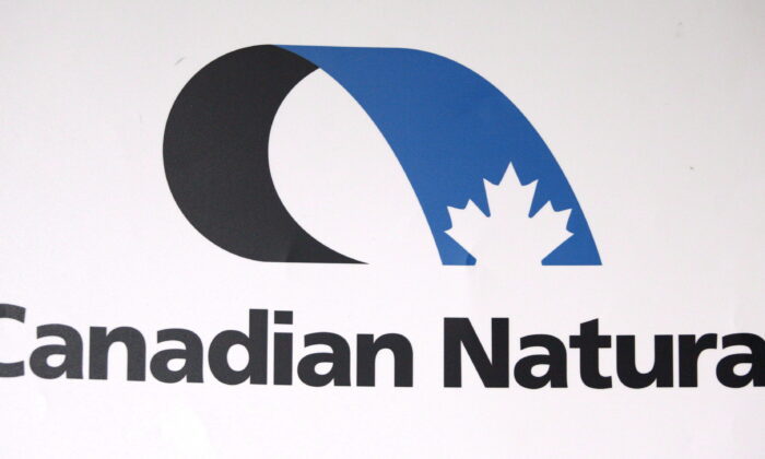The Canadian Natural Resources Ltd. logo, in a photo taken at the company's annual meeting in Calgary, on May 3, 2012. (The Canadian Press/Jeff McIntosh)
