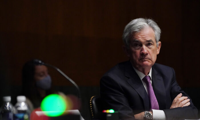 Chairman of the Federal Reserve Jerome Powell testifies during the Senate's Committee on Banking, Housing, and Urban Affairs hearing in Washington, on Sept. 24, 2020. (Toni L. Sandys-Pool/Getty Images)