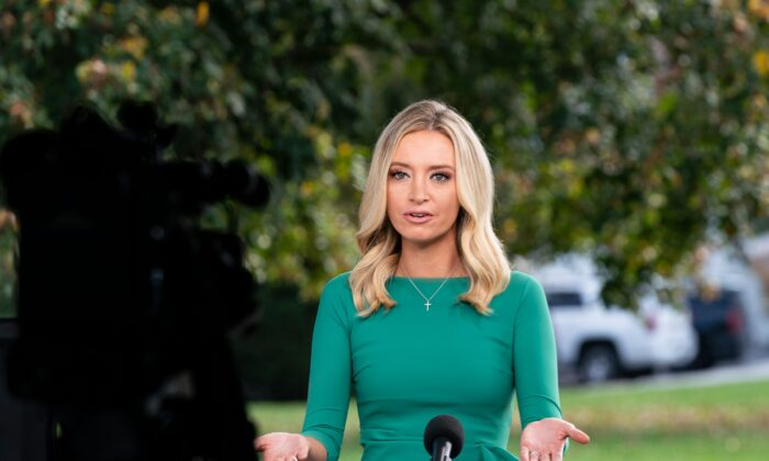 White House Press Secretary Kayleigh McEnany is interviewed by Fox News at the White House in Washington, DC, on Oct. 23, 2020. (ALEX EDELMAN/AFP via Getty Images)