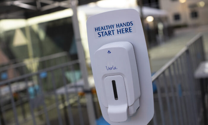 Hand Sanitiser at the entrance of the 'Castaway Unlocked' festival at HBF Stadium in Perth, Australia on July 18, 2020. (Matt Jelonek/Getty Images)