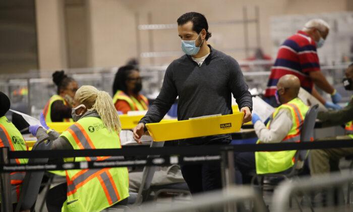 Election workers count ballots in Philadelphia, on Nov. 4, 2020. (Spencer Platt/Getty Images)