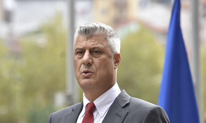 Kosovo president Hashim Thaci addresses the nation as he announced his resignation to face war crimes charges in Pristina, Kosovo, on Nov. 5, 2020. (Visar Kryeziu/AP Photo)