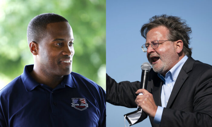 Businessman John James, the Republican nominee for a U.S. Senate seat representing Michigan (L), and Sen. Gary Peters (D-Mich.), in file photographs. (Getty Images)