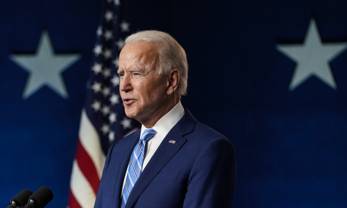 Democratic presidential nominee Joe Biden speaks one day after Americans voted in the presidential election in Wilmington, Del., on Nov. 4, 2020. (Drew Angerer/Getty Images)