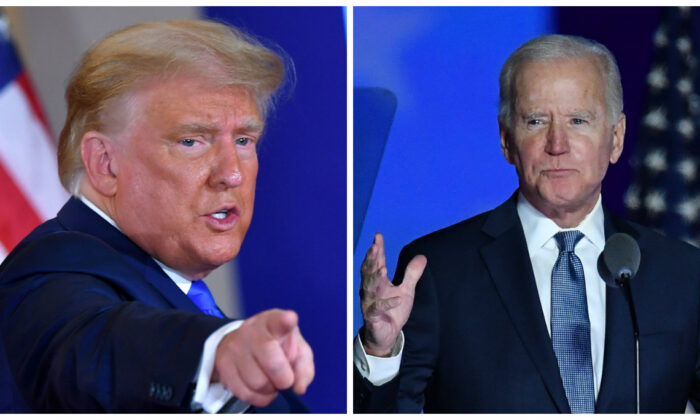 (L) President Donald Trump gestures after speaking during election night in the East Room of the White House in Washington,  early on Nov. 4, 2020. (Mandel Ngan/AFP via Getty Images) Democratic presidential nominee Joe Biden speaks during election night at the Chase Center in Wilmington, Del., early on Nov. 4, 2020. (Angela Weiss/AFP via Getty Images)