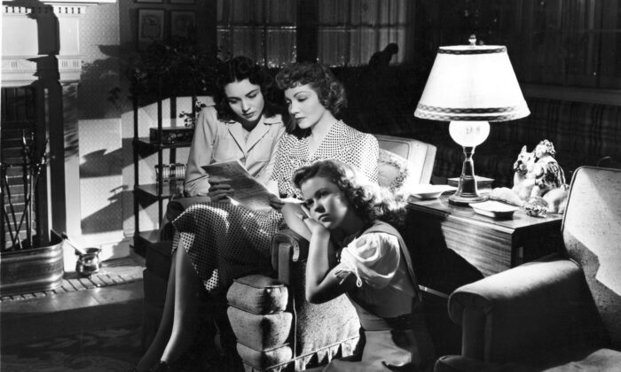 The Hilton women:  Anne Hilton (Claudette Colbert, C) and her daughters. Jane (Jennifer Jones, L) and Bridget (Shirley Temple). (United Artists)
