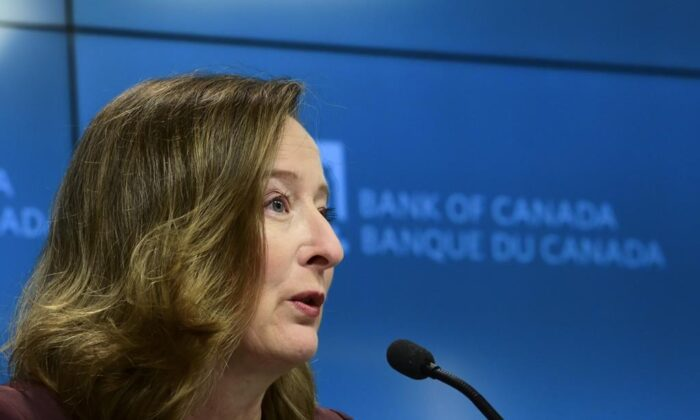 Senior Deputy Governor Carolyn Wilkins holds a press conference at the Bank Of Canada in Ottawa on Oct. 28, 2020. (The Canadian Press/Sean Kilpatrick)