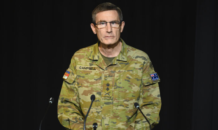 Chief of the Defence Force, General Angus Campbell speaks at a press conference regarding Operation Bushfire Assist in Canberra, Australia on Jan. 5, 2020. (Rohan Thomson/Getty Images)