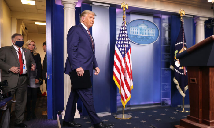 President Donald Trump arrives to speak in the briefing room at the White House on Nov. 5, 2020. (Chip Somodevilla/Getty Images)