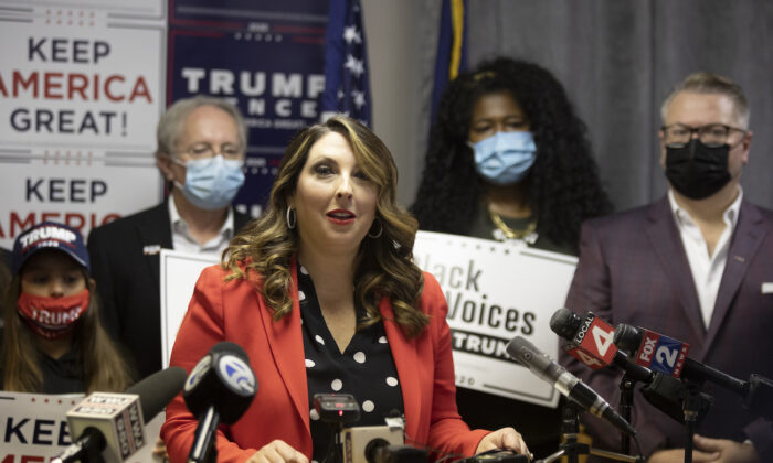 Republican National Committee Chairwoman Ronna McDaniel speaks during the Trump Victory press conference in Bloomfield Hills, Mich., on Nov. 6, 2020. (Elaine Cromie/Getty Images)