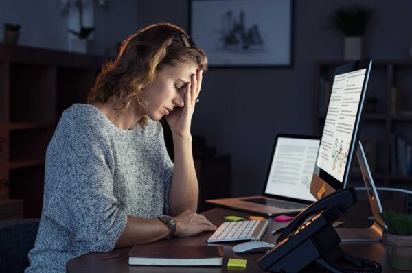 woman working stressed