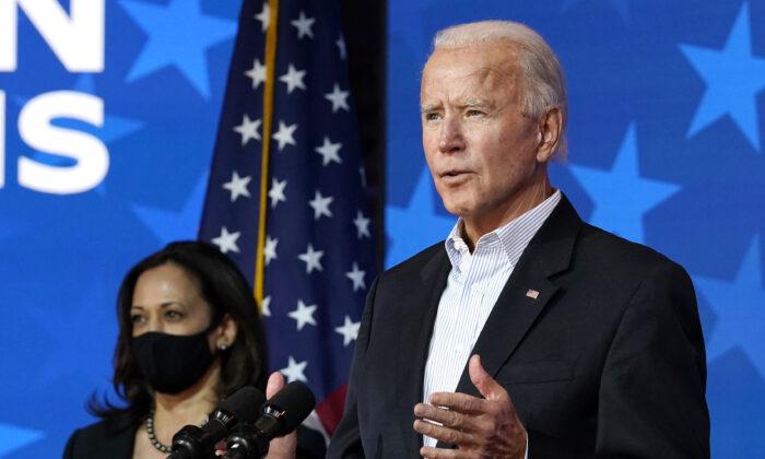 Democratic presidential candidate former Vice President Joe Biden speaks in Wilmington, Del., on Nov. 5, 2020. (Carolyn Kaster/AP Photo)