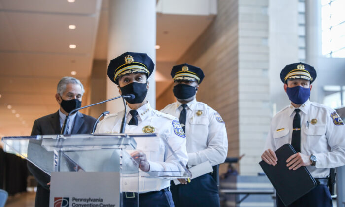 Philadelphia Police Department Commissioner Danielle Outlaw during a press conference at the Pennsylvania Convention Center in Philadelphia, Pa., on Nov. 6, 2020. (Charlotte Cuthbertson/The Epoch Times)