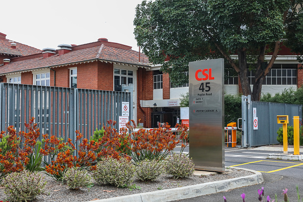 CSL Signage is seen at the main entrance of it's offices and manufacturing plant in Parkville in Melbourne, Australia on Nov. 6, 2020. (Asanka Ratnayake/Getty Images)