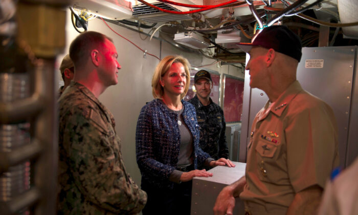 Under Secretary for Nuclear Security of the U.S. Department of Energy and Administrator of the National Nuclear Security Administration Lisa Gordon-Hagerty tours the Ohio-class ballistic missile submarine USS Alabama in Bangor, Washington, on Oct. 10, 2018. (Amanda R. Gray/U.S. Navy/Handout via Reuters)